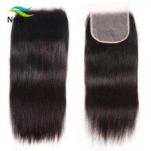 4x4 Cierre de encaje transparente con pelo de bebé 10A cierre recto brasileño virgen 10 22 pulgadas