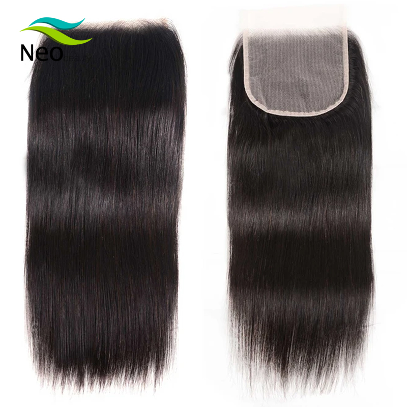 4x4 Transparent Lace Closure With Baby Hair 10A Virgin Brazilian Straight Closure 10-22 Inches