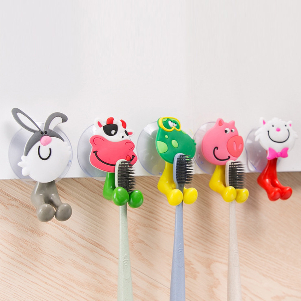 Wall Mounted Heavy Duty Suction Cup Antibacterial Toothbrush Holder Hooks Set Toothpaste Suction Cup Holder