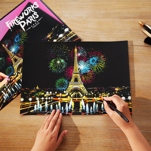 40.5*28.5cm Magic Scratch Art Crafts World Landscape Scraping Paintings Paper Adult kids decompression toys Creative DIY Gifts