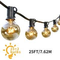 G40 Globe dize işıklar 25 Clear ampüller asılı kapalı noel ışıkları açık düğün Garland peri işıklar dekorasyon