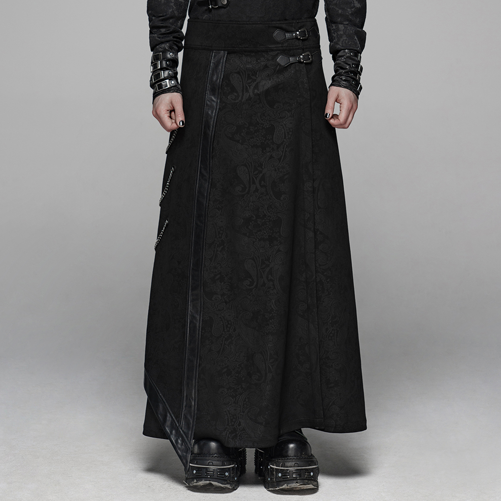 PUNK RAVE Men's  Gothic Floral Long Overskirt Joint Leather Side Chain Stage Performance Men Pants