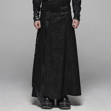 PUNK RAVE Men's Gothic Floral Long Overskirt Joint Leather Side Chain Stage Performance Men Pants(China)
