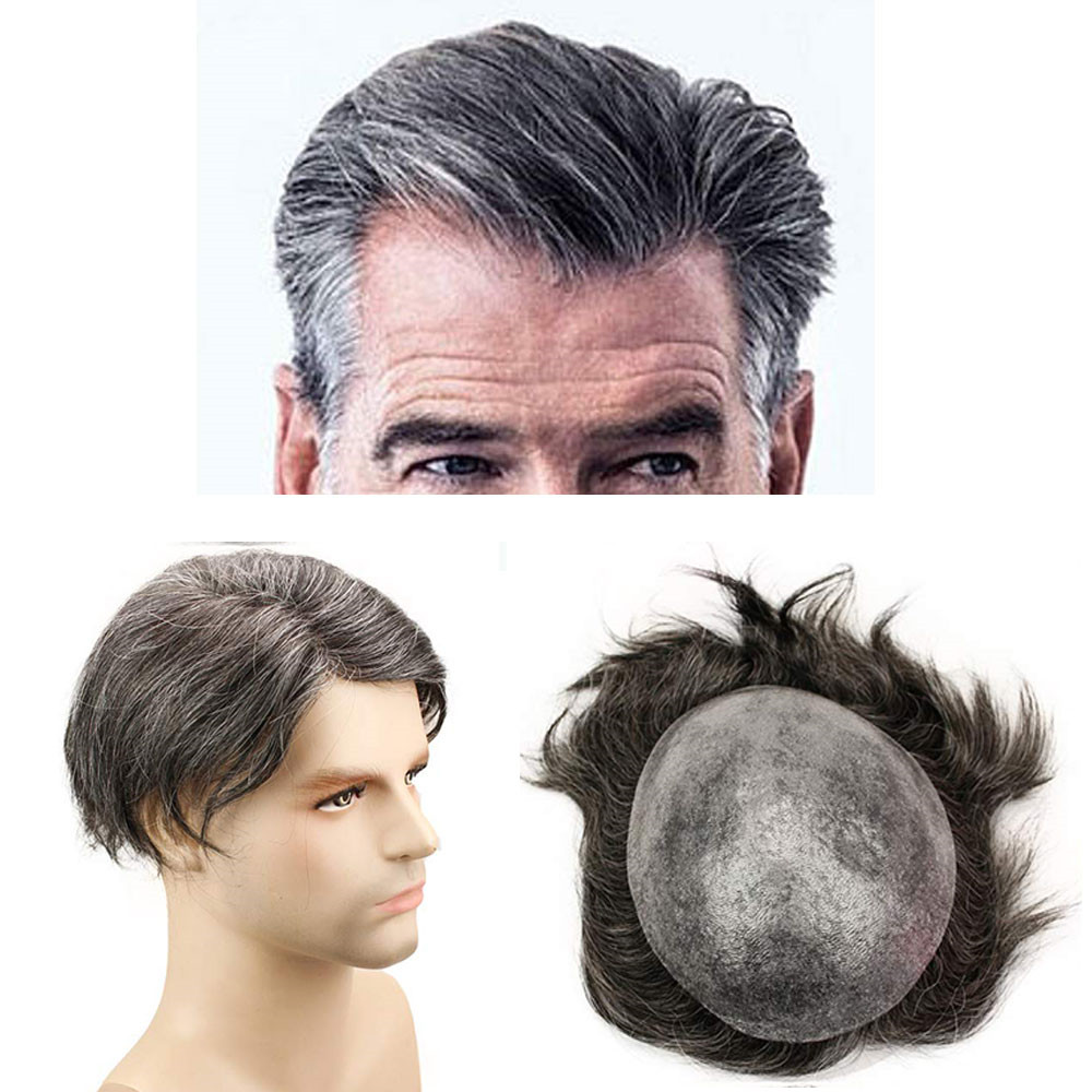 Eseewigs Straight Toupee 1B Brazilian Remy Hair Mixed 20% Grey Hair Wigs For Men 10x8 Whole Skin PU Around