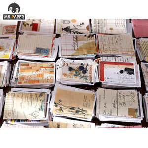 Mr.paper 8style 92pcs/368pcs Medieval Material Paper Retro Journaling Bullet Junk Scrapbooking Label Fresh Words LOMO Cards
