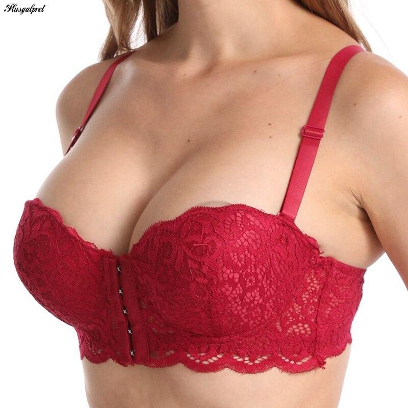 Plusgalpret с глубоким вырезом, бюстгальтер, увеличивающий грудь, Для женщин полчашки белье сексуальный v-образный четкие полосатые мягкий, близк...