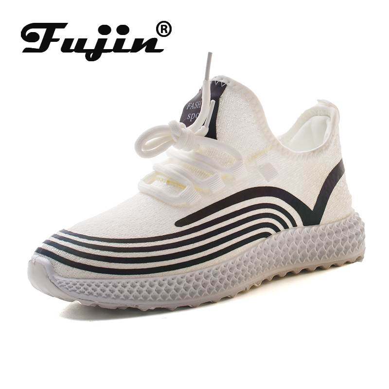 Fujin 2020 Women Sneakers Night Reflection Breathable Knitting Comfortable Soft Flats Shoes Women Spring Autumn Platform Shoes