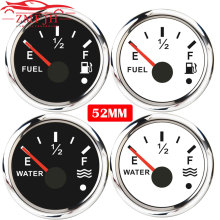 New 52mm Marine Boat Water/Fuel Level Gauge with Alarm Light Fit For  0~190 ohm 240 33ohm Fuel Sender Unit Water Level Sensors