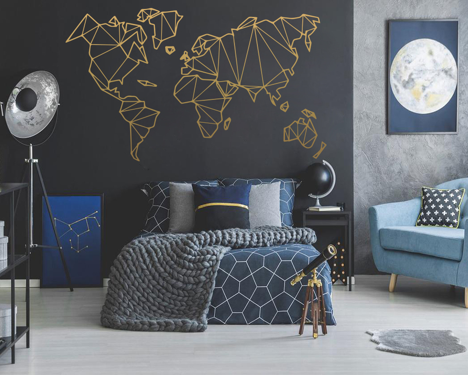 Size Geometric World Map Wall Sticker Vinyl Mural Removable Bedroom Decor Stickers Home Living Room 960x960
