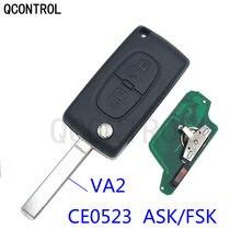 QCONTROL Remote Key PCF7941 for PEUGEOT Expert Partner 207 307 308 407 807 CC SW CE0523 ASK/FSK VA2 /2 Buttons