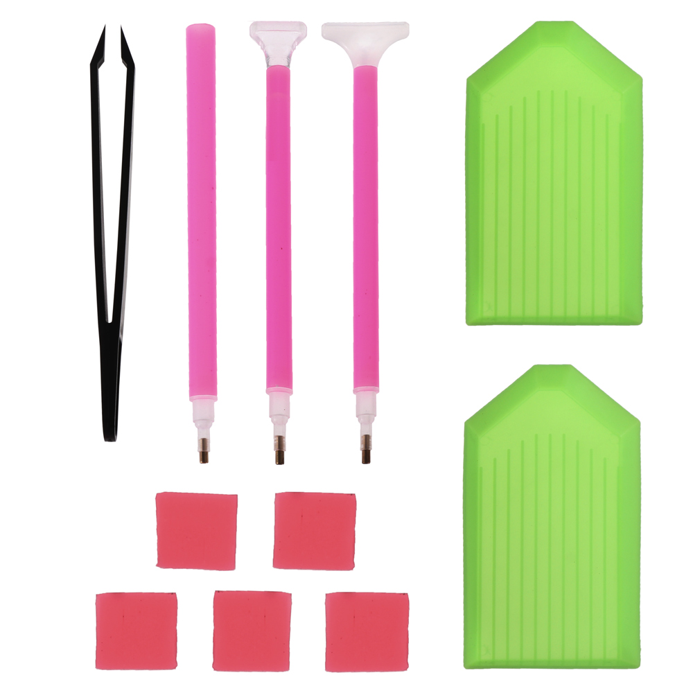 5D DIY Diamond Painting Point Drill Pens Embroidery Tools Set w//Tweezers
