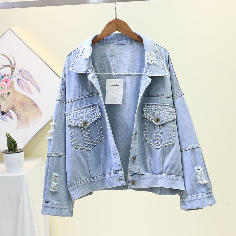 2020 New Korean Spring Autumn Loose Jeans Coat Woman Holes Denim Jacket Nailed Beads Short Jacket Girls Students Jean Coats Tops