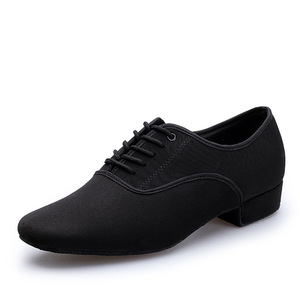Image 2 - Mens Latin Ballroom Dance Shoes Professional Black Canvas Latin Salsa Shoes Plus Size Low Heel Tango Ballroom Dance Shoes