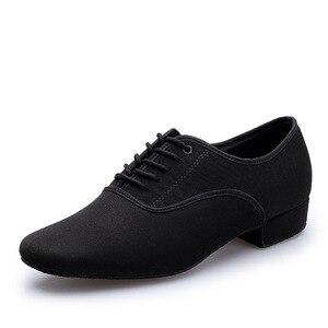 Image 2 - Zapatos de baile latino para hombre, calzado profesional de lona negra para Salsa latina, zapatos de talla grande de tacón bajo para Tango, zapatos de baile de salón