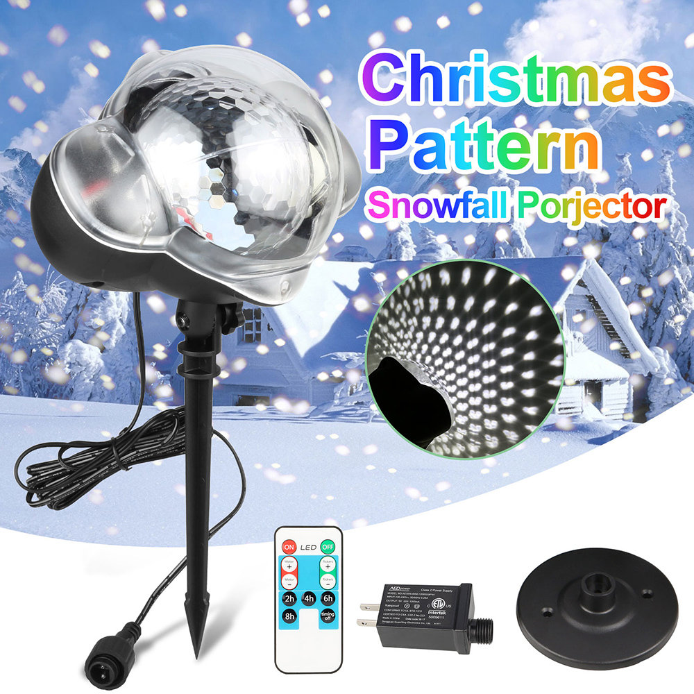 Mini Snowfall Projector Christmas Led Lights Garden Laser Lamp with Remote for Halloween Holiday Xmas Party
