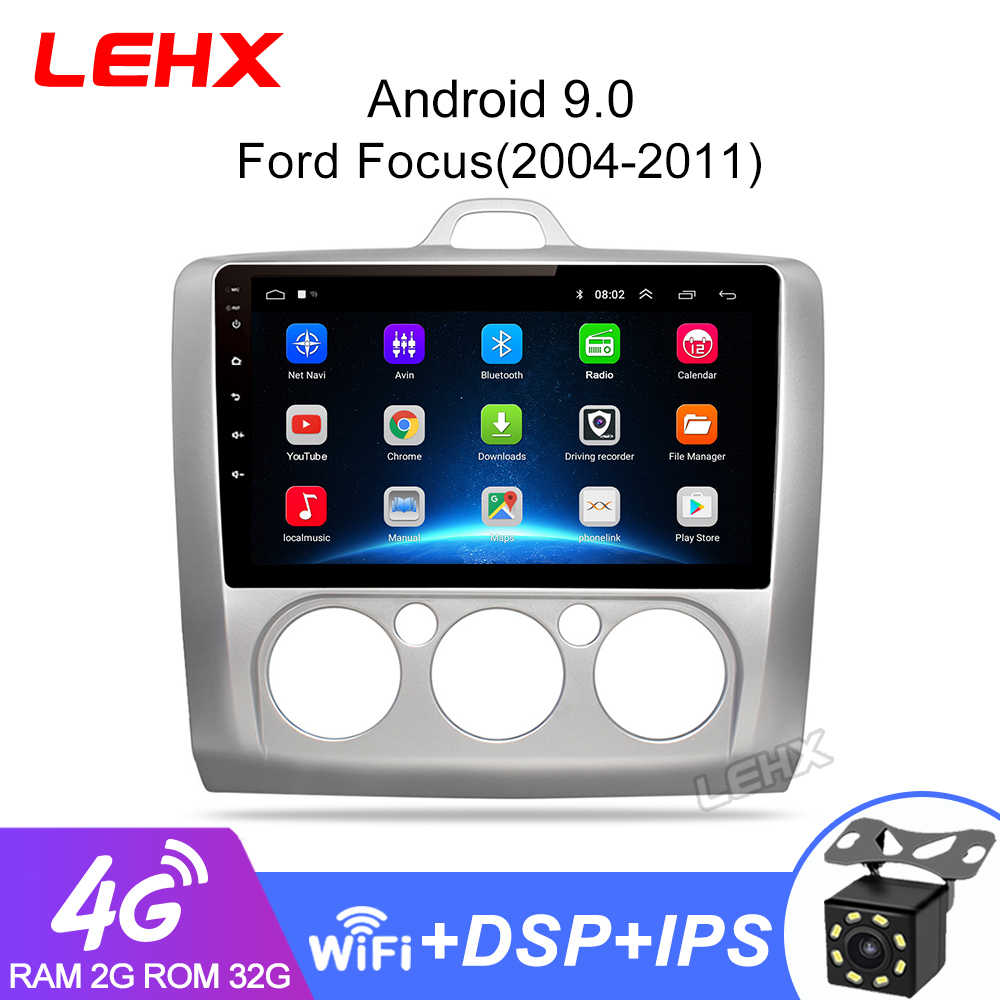 LEHX 2 DIN 9 นิ้ว Android 9.0 GPS Navigation Touchscreen Quad-core วิทยุรถยนต์สำหรับ Ford Focus EXI AT2004 2005 2006 2007 2008-2011