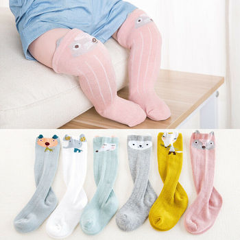 0-4T Cute Cartoon Fox Kids Baby Stocking Warmers Knee High Tights Stretch Leg Warmer Stockings 0-3 Years image