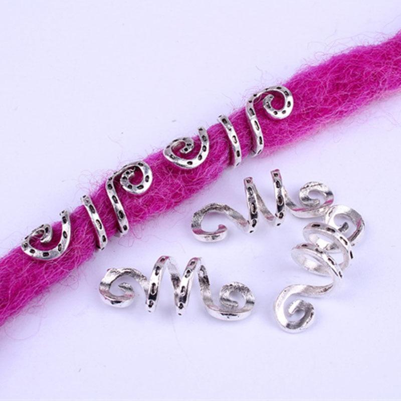 10pcs Metal Silver Viking Spiral Hair Braid Dread Beard Dreadlock Beads Rings Tube Clips For Hair Accessories Charms