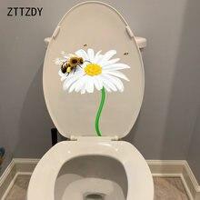 Zttzdy 20.7cm × 24.5cm daisy bee criativo banheiro decoração de banheiro engraçado casa adesivos de parede T2-1014