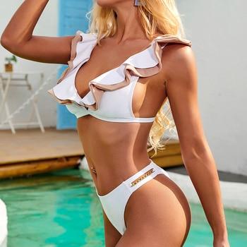 Sexy Ruffle Bikini Mujer Swimsuit Woman High Leg Swimwear Women 2020 Micro Bikini Set Beachwear Swimming Wear for Bathing Suit 2