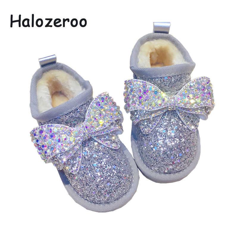 ฤดูหนาวเด็ก Bow หิมะรองเท้าเด็กทารก Rhinestone ข้อเท้ารองเท้าเด็กรองเท้าเด็กวัยหัดเดิน Glitter ยี่ห้อรองเท้าเจ้าหญิงรองเท้า
