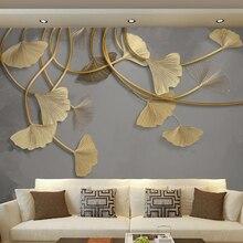 Custom 3D Photo Wallpaper Luxury Golden Embossed Leaf Fresco Study Room Living Room Sofa TV Background Non-woven Wallpaper Mural цена 2017