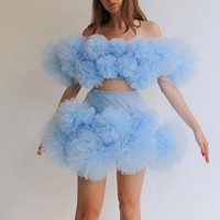 Pale Blue Two Pieces Prom Gowns Above Knee Length robe de soiree Off Shoulder Short Cocktail Gown Party Dresses Pleats
