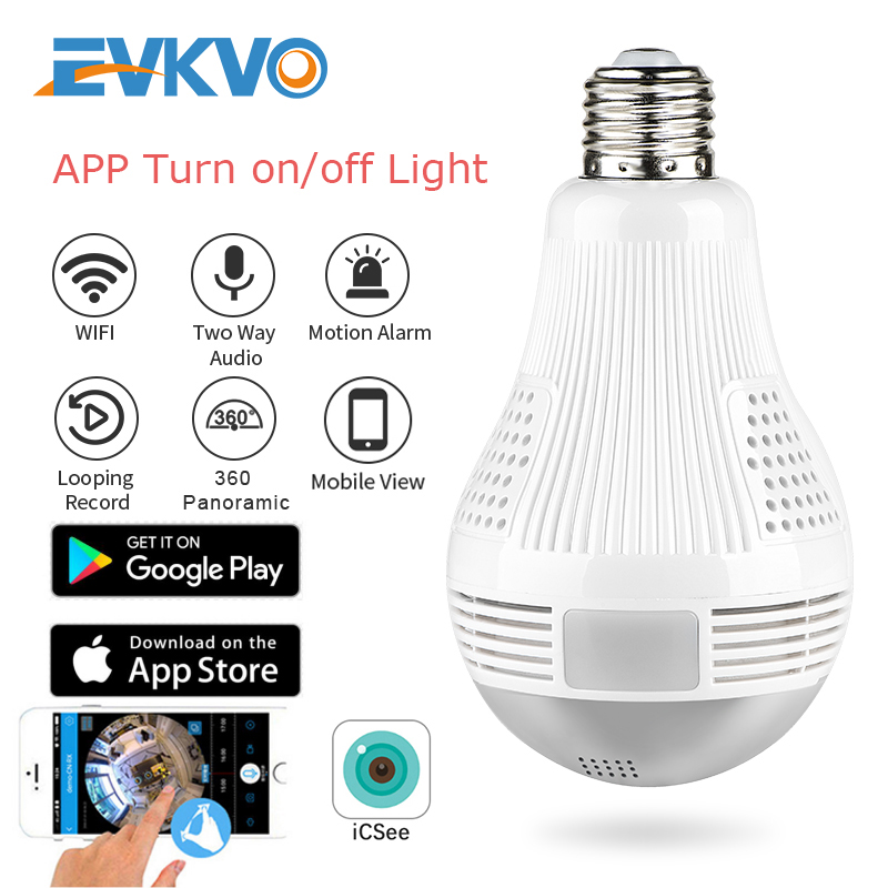 EVKVO 360 Degree LED Light 1080P Wireless Panoramic Home Security Security WiFi CCTV Fisheye Bulb Lamp IP Camera Two Ways Audio