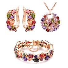 3Pcs/Set Women Wedding Bride Fashion Colorful Zircon Jewelry Set Artificial Gems Necklace Earrings Bracelet цена