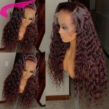 99j бордовые кружевные передние человеческие волосы парики вьющиеся 180% кружевные парики цветные 99J 13x6 кружевные парики Remy Предварительно вы...