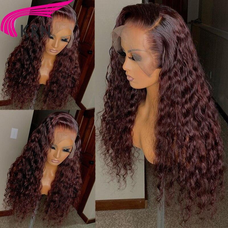 Krn 99j borgonha vermelho curto perucas de cabelo humano pré arrancadas encaracolado loira peruca dianteira do laço 13x6 laço frontbrazilainremy peruca 180 densidade