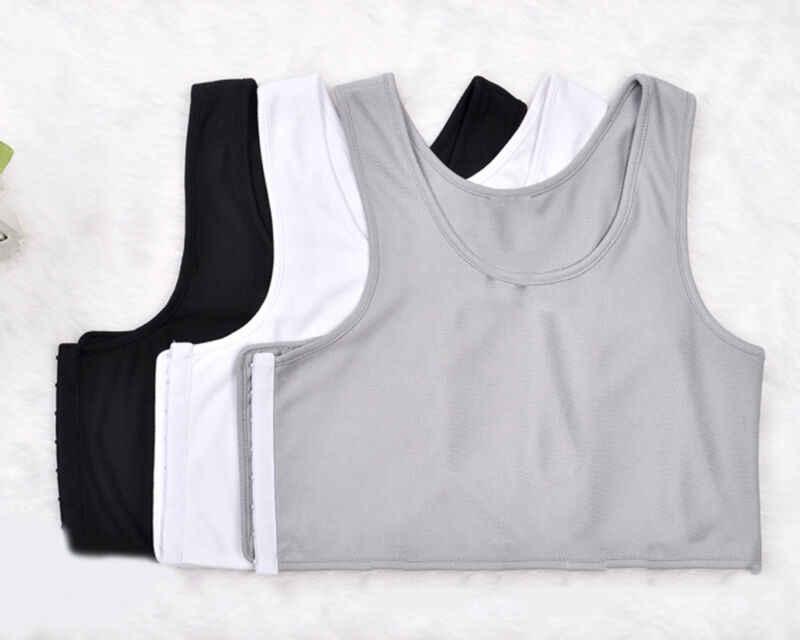 USA Lesben Tomboy Ernte Weste Tank Top Unterhemd Brust Bindemittel Bh Schwarz + Weiß