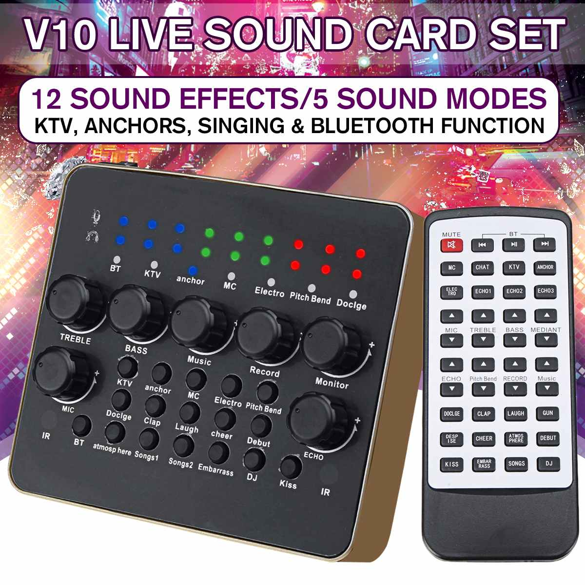 1PCS V10 Live Sound Card Microphone Set device Mobile Phone Fast Hand Shouting Wheat Universal for Mobile Phone Broadcast