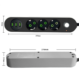 Image 2 - EU Russian USB Power supply Socket 3 Way EU Power Strip Electric Extender Cord Outlet Surger Overload Protector Network filter