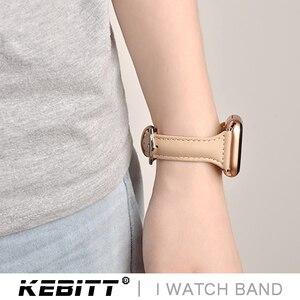 Женский тонкий ремешок Kebitt из натуральной кожи для Apple Watch 5, 4, 2, 1, цветной светильник iwatch3