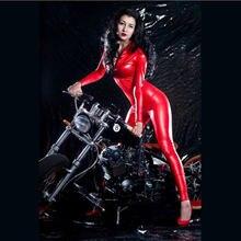 Красный сексуальный женский комбинезон искусственная кожа на