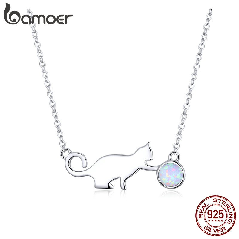 Bamoer Authentic 925 Sterling Silver Naughty Pussy Cat With Ball Opal Link Chain Necklace For Women Party Girl Gifts SCN395