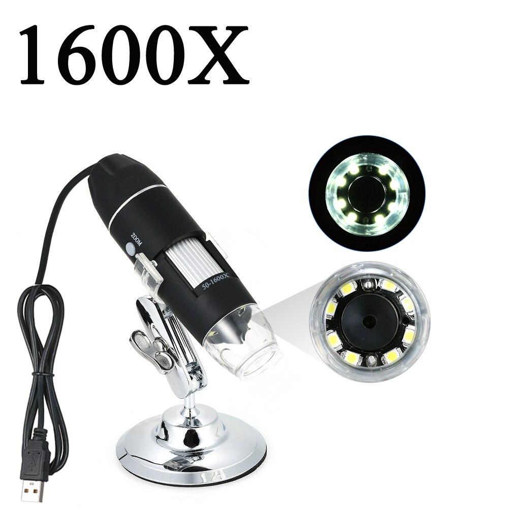 Оптовая продажа Регулируемый 1600X 1000X цифровой USB микроскоп Лупа электронный стерео USB эндоскоп камера 0.3MP 8 светодиодный Микроскопы      АлиЭкспресс