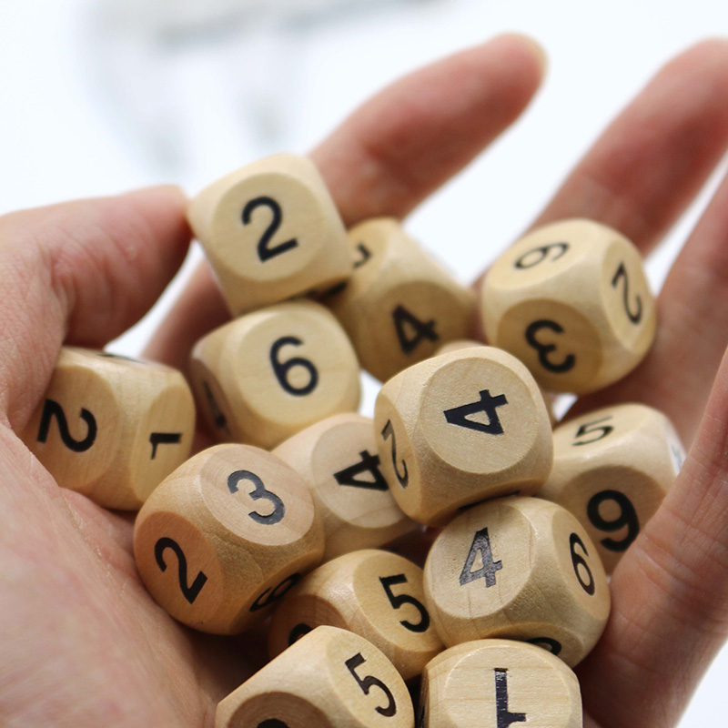 10 Pcs/set 1-6 Digital Dice 1.6/2.0 Cm Dice Set Wooden 6 Sided Dice Board Game Accessory