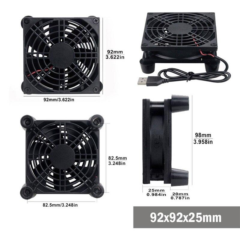 Gdstime 5V USB Router Fan TV Box Cooler 80mm 92mm 120mm 140mm PC DIY Cooler W/Screws Protective net Silent Desktop Fan 4