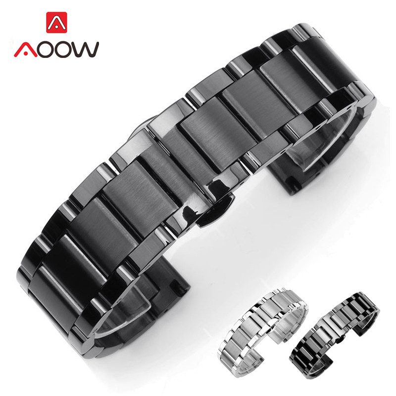 Solid Stainless Steel Watchband 18mm 20mm 22mm 24mm Deployment Butterfly Buckle Men Metal Replacement Bracelet Watch Band Strap