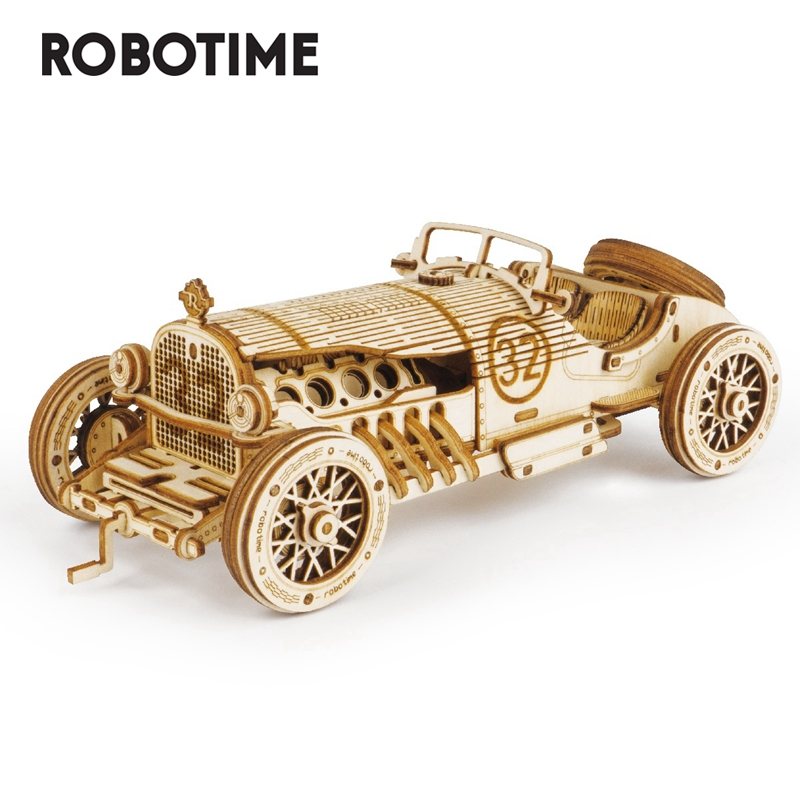 Robotime 1:16 220pcs Classic DIY Movable 3D Grand Prix Car Wooden Puzzle Game Assembly Toy Gift For Children Teens Adult MC401