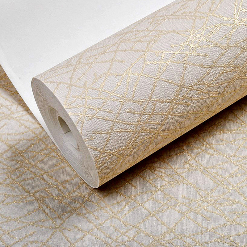 1M Solid Color Modern Geometric Stripes Textured Vinyl Wallpaper For Walls Gold Abstract Branches Metallic Wall Paper