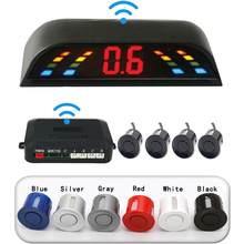 Samochód czujnik parkowania LED z 4 czujnikami rewers Backup samochód bezprzewodowy Parking System detektora radaru monitorującego wyświetlacz