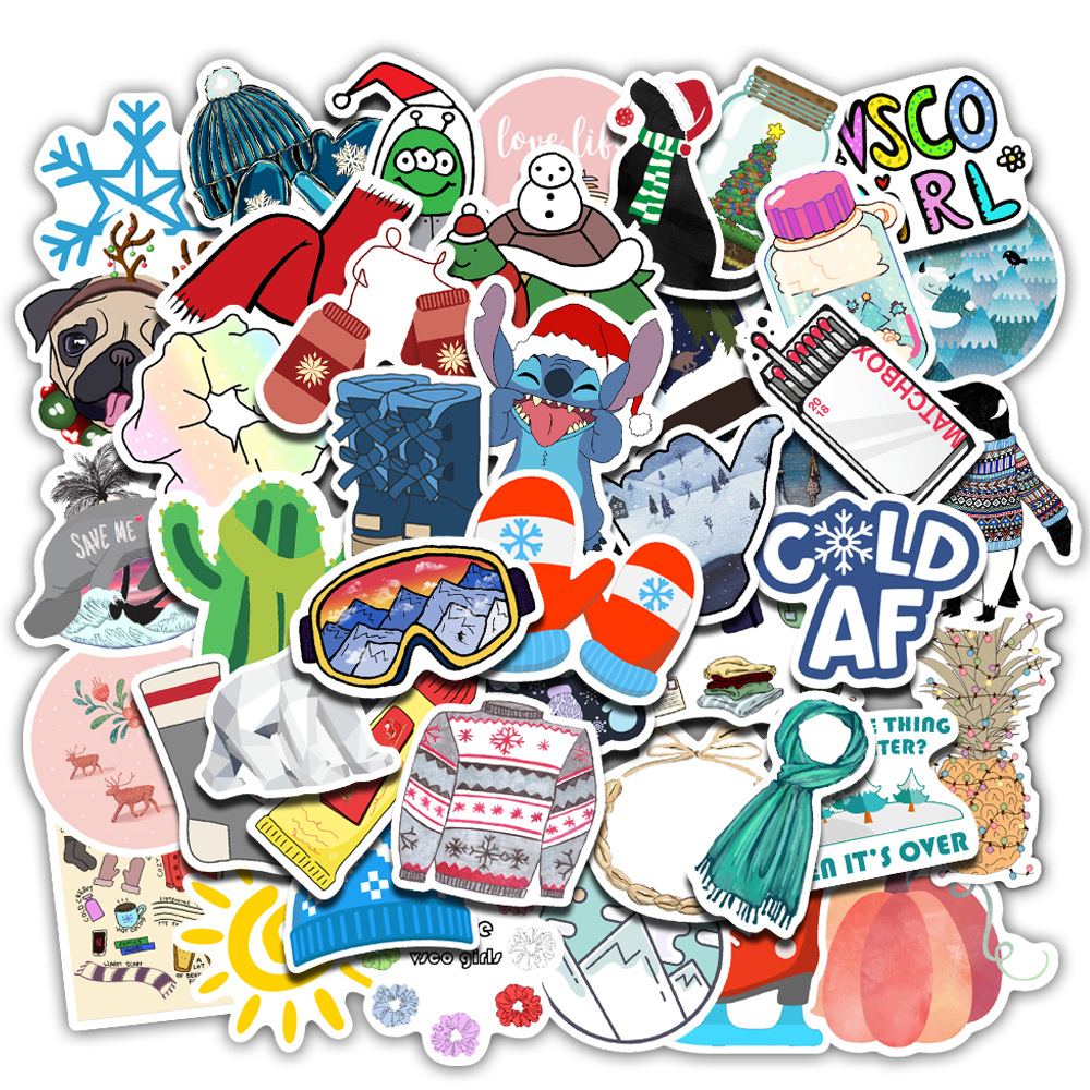 50Pcs Winter Fresh Amazon Explosions Non-infringement Luggage Stickers Super Waterproof Graffiti Luggage Stickers TZ146G