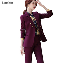 2piece-Suit-Set Business Formal Women Blazer Trouser Work-Wear Office Lady Lenshin Wine