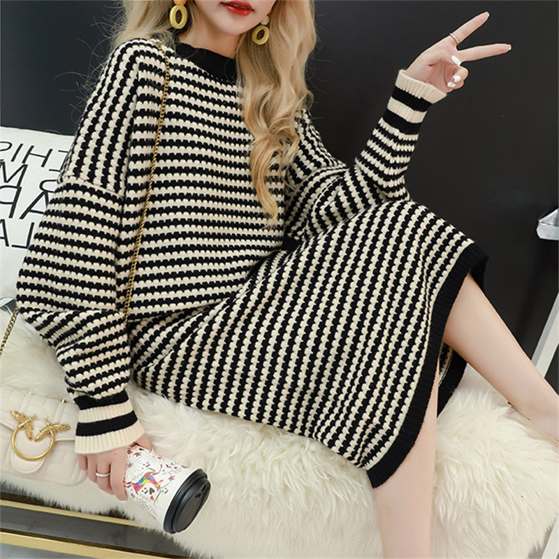 Autumn Knitted Suit Women 2 Two Piece Set Skirt Suit Oversize Warm Tracksuit Wool Vintage Suit Set Stripe Elastic Women Outfits