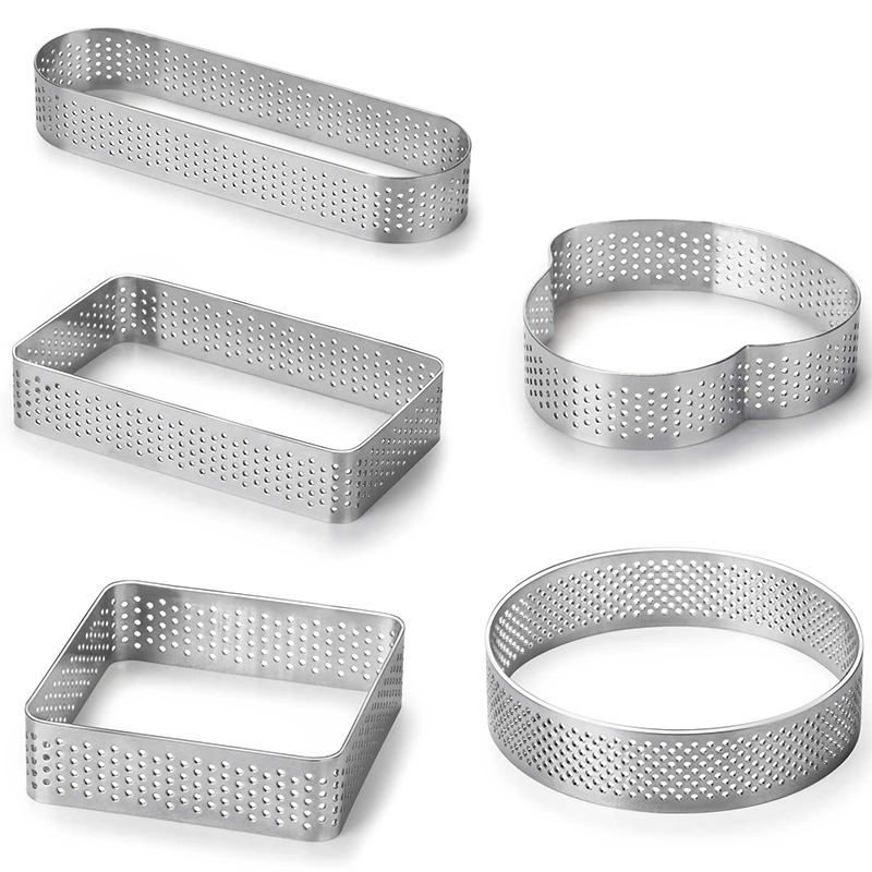 5 Pack Stainless Steel Tart Ring, Heat-Resistant Perforated Cake Mousse Ring, 5 Shapes