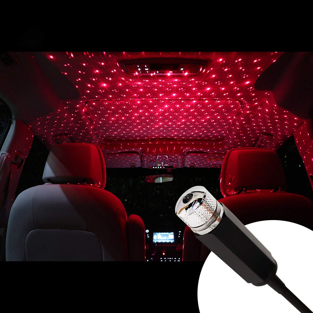 LED Car Roof Star Projector Night Light USB Atmosphere Galaxy Starry Decorative Lamp Adjustable Multiple Lighting Effects