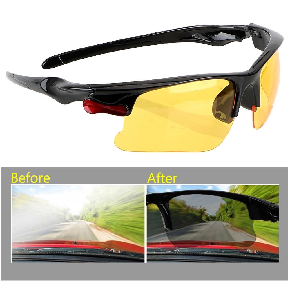 Otomobiller ve Motosikletler'ten Sürücü Gözlük'de Gece görüş sürücüleri GogglesProtective dişliler güneş gözlüğü Anti parlama sürüş gözlükleri gece görüş gözlüğü araba Styling title=